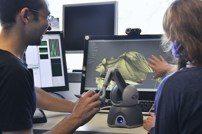 Dr John Stavrakakis and Paula Dawson testing Phantom haptic interface at Holoshop lab, ViSLAB Sydney.